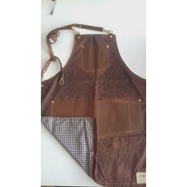 Delantal Barista Waxed canvas y cuero marron